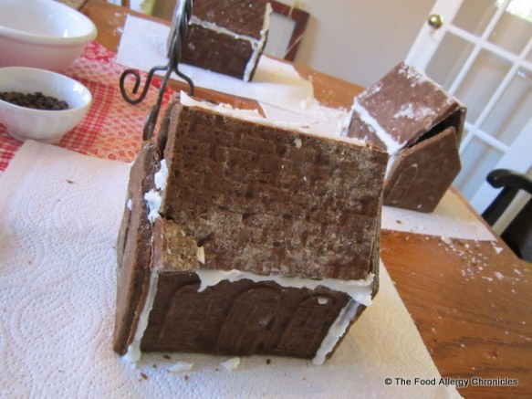 constructed dairy,egg and peanut/tree nut free gingerbread houses