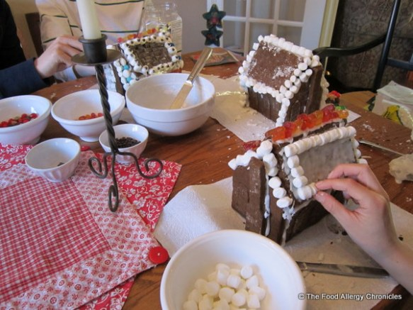 decorating dairy,egg and peanut/tree nut free gingerbread houses with allergen free candies