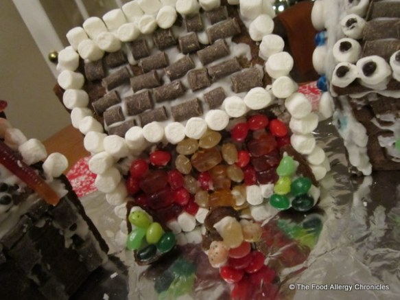 my decorated dairy,egg and peanut/tree nut free gingerbread house