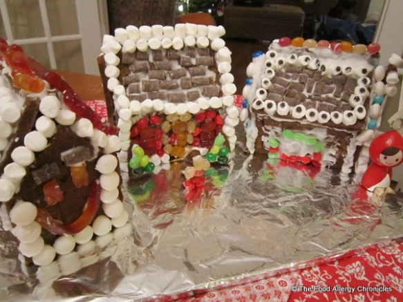 decorated dairy,egg and peanut/tree nut free gingerbread houses