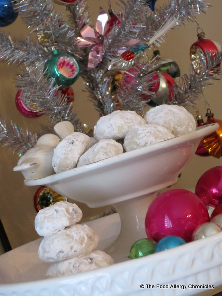 dairy, egg and peanut/tree nut free chocolate chip snowball cookies in a dish