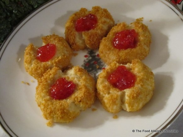 dairy, egg and peanut/tree nut free thumbprint cookies on a plate