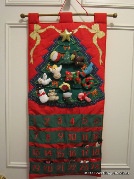 first advent calender with velcro decorations for the tree