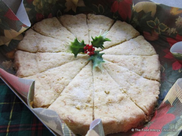 dairy and peanut/tree nut free orange shortbread packaged up as a gift