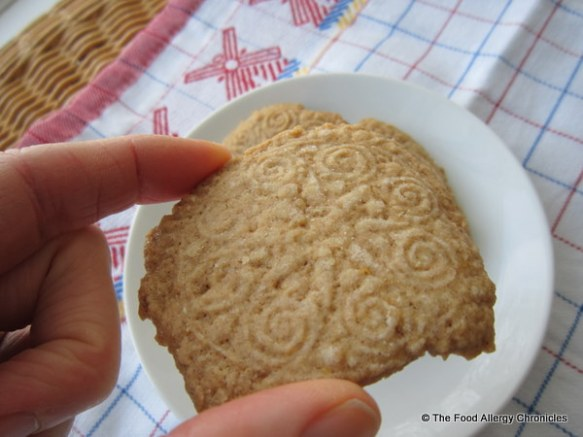 enjoying a dairy,egg and peanut/tree nut free speculaas cookie