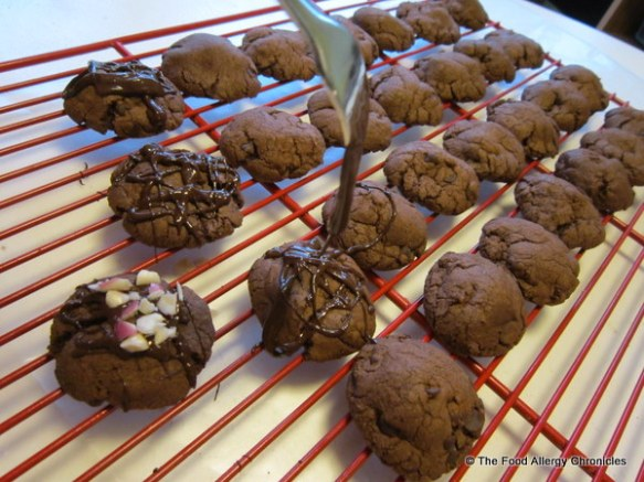 decorating dairy,egg and peanut/tree nut free double chocolate peppermint crunch cookies