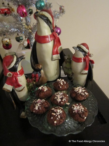 dairy,egg and peanut/tree nut free double chocolate peppermint crunch cookies on a cake stand