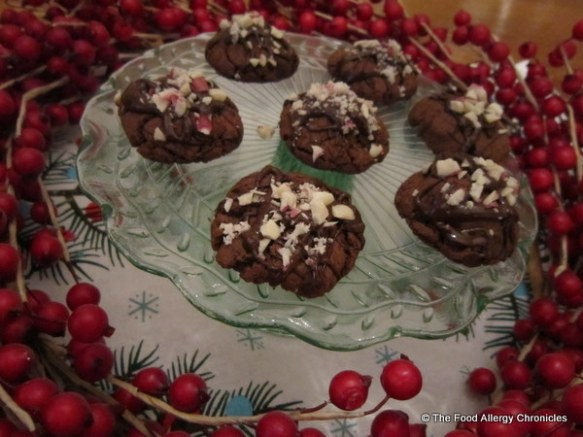 dairy, egg and peanut/tree nut free double chocolate peppermint crunch cookies on a cake stand