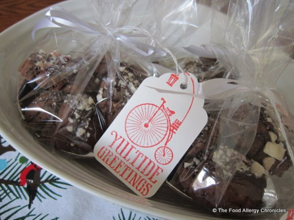packages of dairy,egg and peanut/tree nut free double chocolate peppermint crunch cookies
