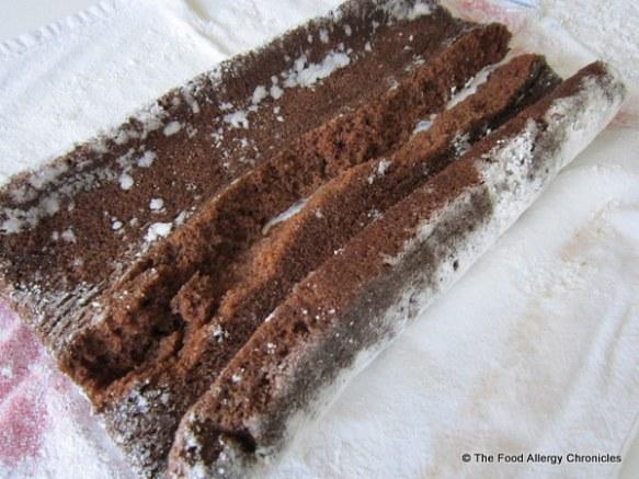 dairy, egg and peanut/tree nut free chocolate cake unrolled