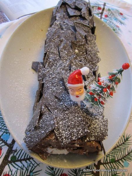 dairy, egg and peanut/tree nut free chocolate yule log with chocolate bark