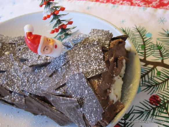 dairy,egg and peanut/tree nut free chocolate yule log