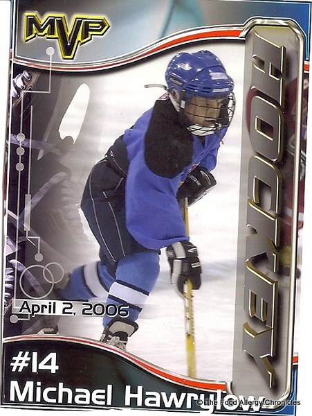 michael on his hockey card