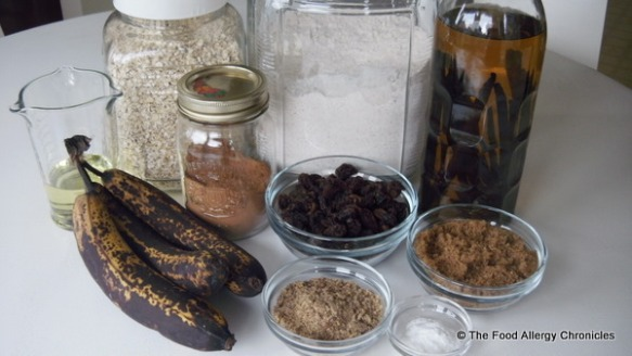ingredients for dairy,egg,peanut/tree nut free oatmeal banana bread