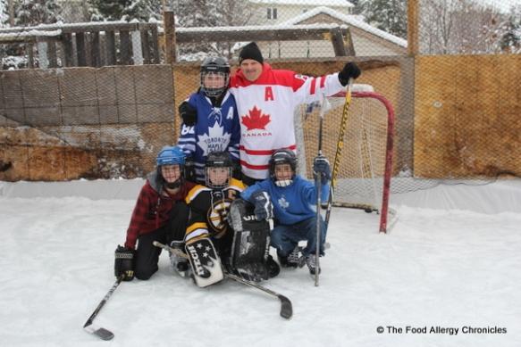 boys geared up for some backyard hockey, ottawa, 2011