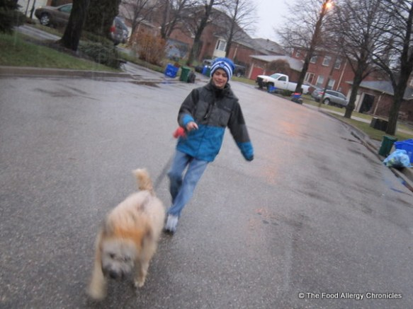 brian leading matthew on a walk