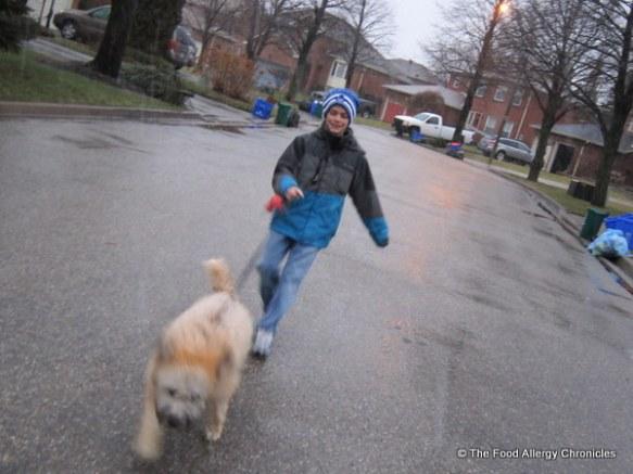brian leading matthew on a walk