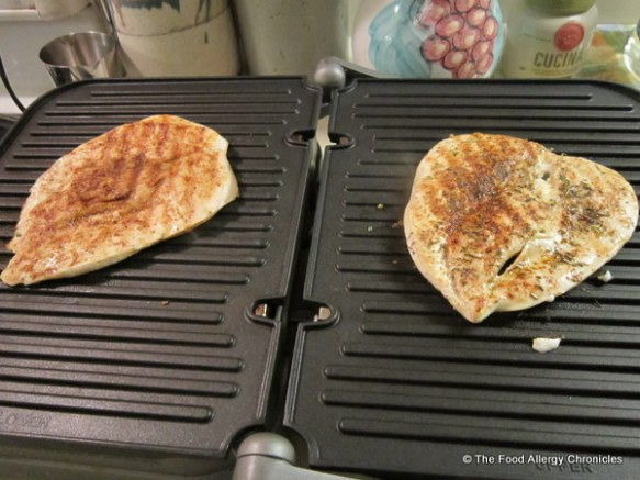 flattened spiced chicken breasts on cuisinart griddler