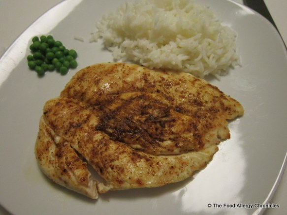 Matthew's spiced flattened chicken breast with basmati rice and peas
