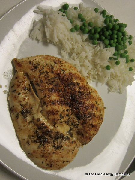 Michael's flat chicken dinner with rice and peas