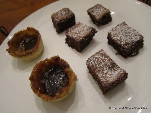 Dairy,Egg, and Peanut/Tree Nut Free Brownies and Dairy,Egg,Soy, Peanut/Tree Nut Free Butter Tarts on a plate