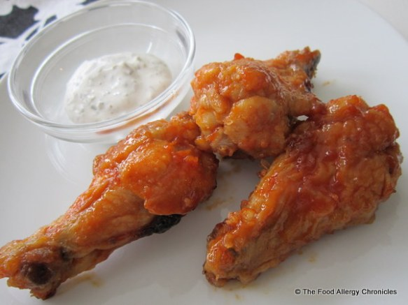 allergen friendly chicken wings with Tofutti based dipping sauce