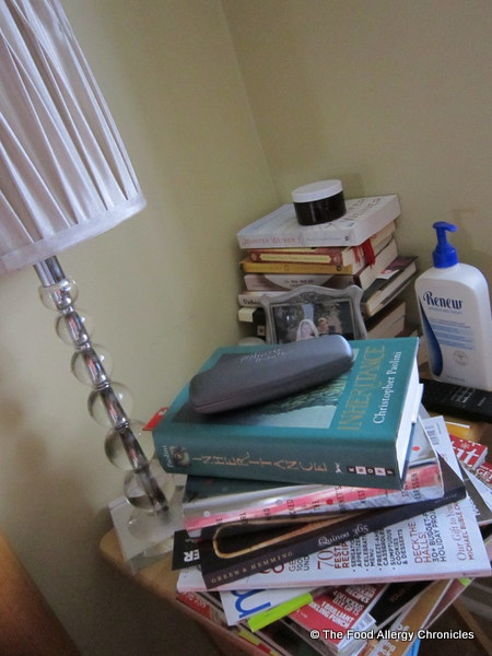 my bedside table that needs decluttering