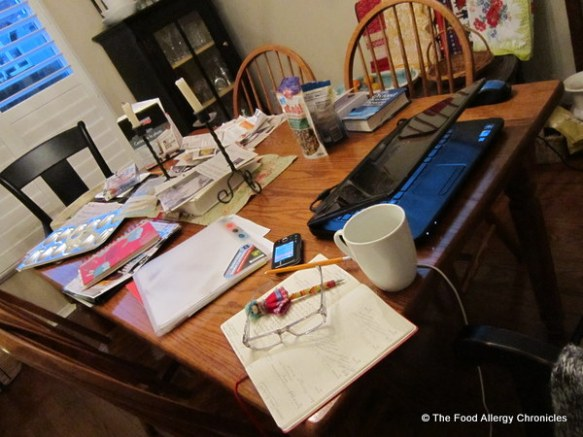 my dining room table that needs decluttering
