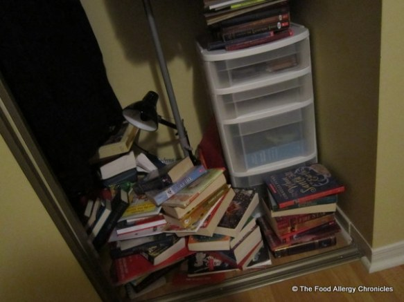 Michael's book laden closet