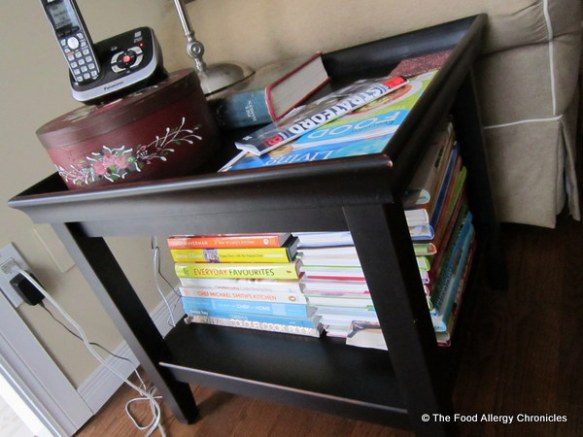 side table in family decluttered of magazines