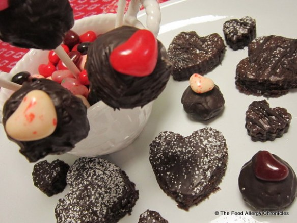 Dairy, Egg, Soy and Peanut/Tree Nut Free Decadent Brownie Pops and Hearts