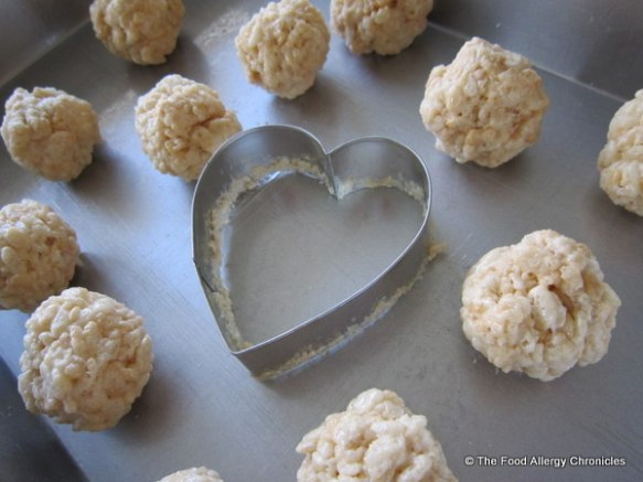 dairy free rice krispie heart leftover bits rolled into balls