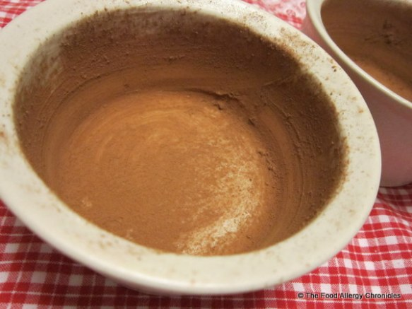 ramekin greased with earth balance and dusted with guardian angel cocoa
