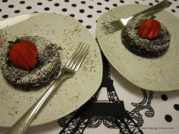 romantic dessert of dairy,egg, soy and peanut/tree nut free chocolate lava cakes for two