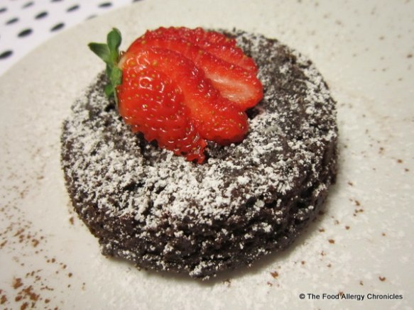 dairy,egg,soy and peanut/tree nut free chocolate lava cake on a plate