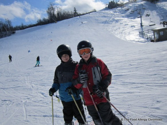 Matthew and Lukas at the bottom of the ski hill