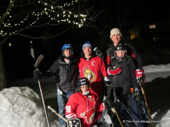the boys out for some backyard night hockey