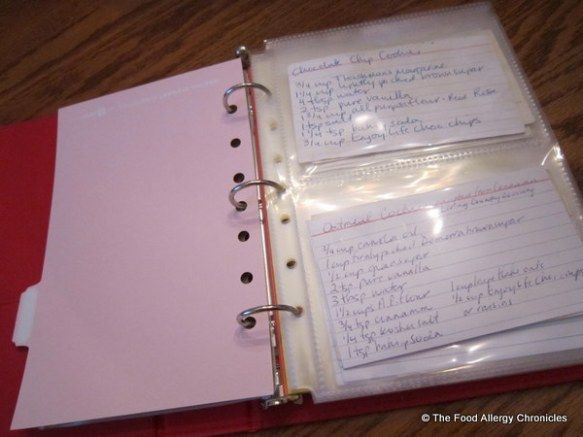 Martha Stewart little red binder with recipe card holders and dividers for posted recipes