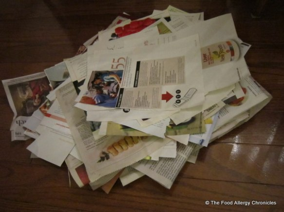 pile of papers for the recycling bin