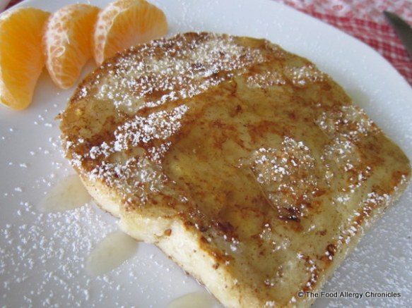 Dairy, Egg, Soy and Peanut/Tree Nut Free French Toast drizzled with Pure Maple Syrup and dusted with icing sugar