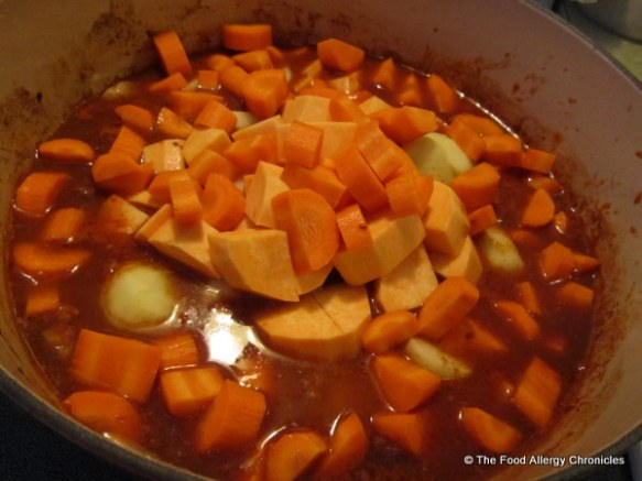 peeled, cubed and sliced veggies added to Pork Bourguignon