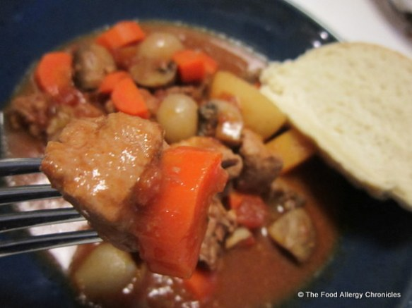 enjoying a bowl of Pork Bourguignon