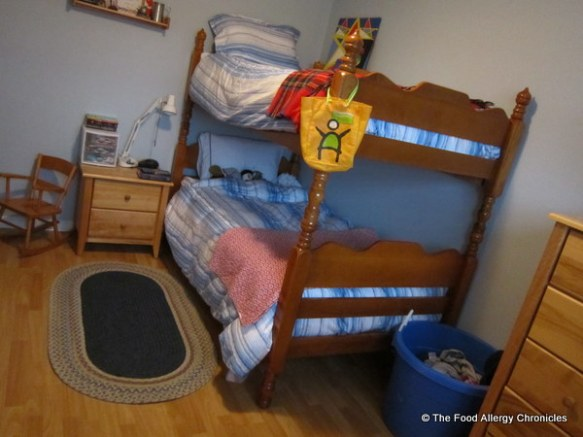 Matthew's twin beds set up as bunk beds