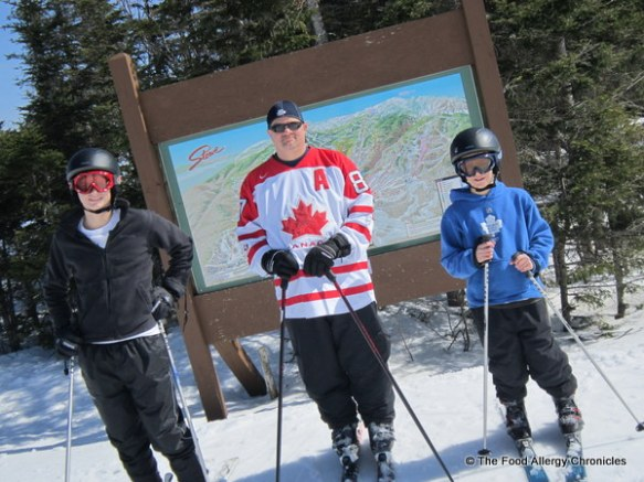 boys in their canadian attire skiing at Stowe Vermont