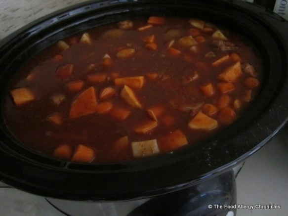 Allergen friendly Pork Bourguignon in slow cooker