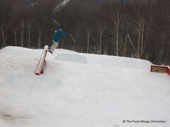 nephew going off a rail on skis at Stowe, Vermont