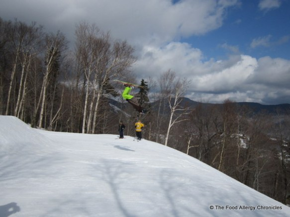 nephew doing a back flip at Stowe Vermont