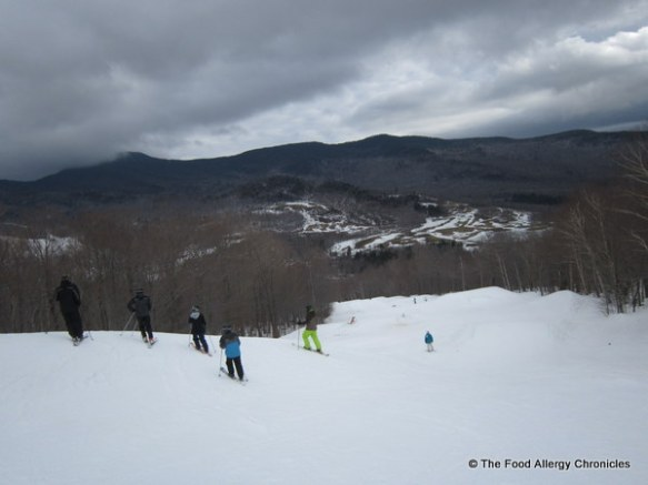 our group watching my nephew head for a jump at Stowe, Vermont