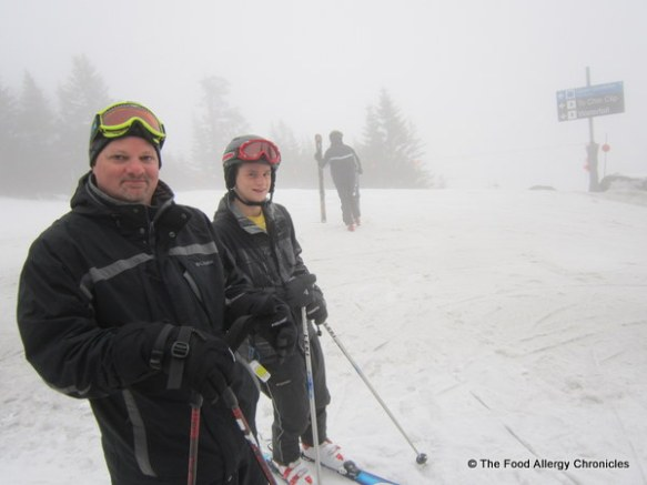 andy and michael in the dense fog at Stowe Vermont