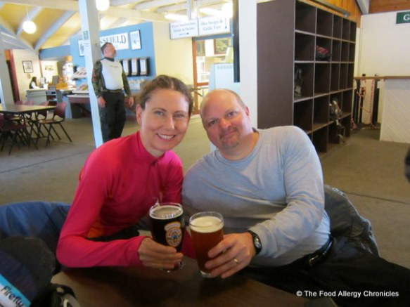 andy and I enjoying our apres ski cocktail at Stowe, Vermont